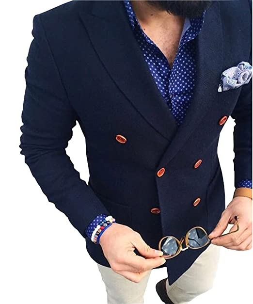 Amazon.com: loveetoo azul marino doble breasted Blazer ...