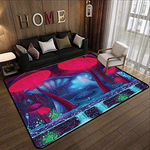 Bath Rugs for Bathroom,Mushroom Decor,Magic Mushrooms with Vibrant Neon Lights Graphic Image Enchanted Forest Theme Print,Blue Red 55