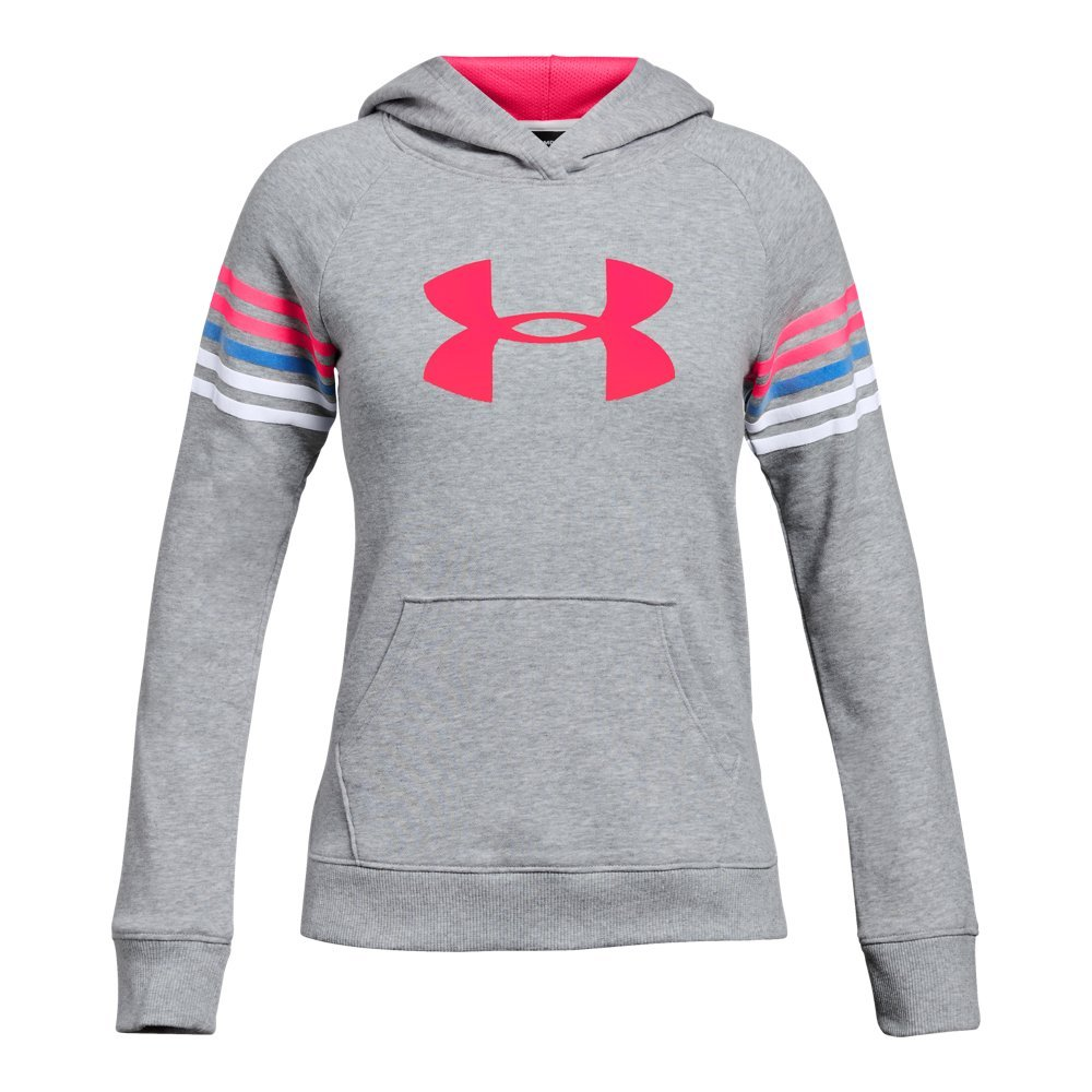 Under Armour Girls Favorite Terry Hoody, Steel Light Heather (035)/Penta Pink, Youth Small by Under Armour