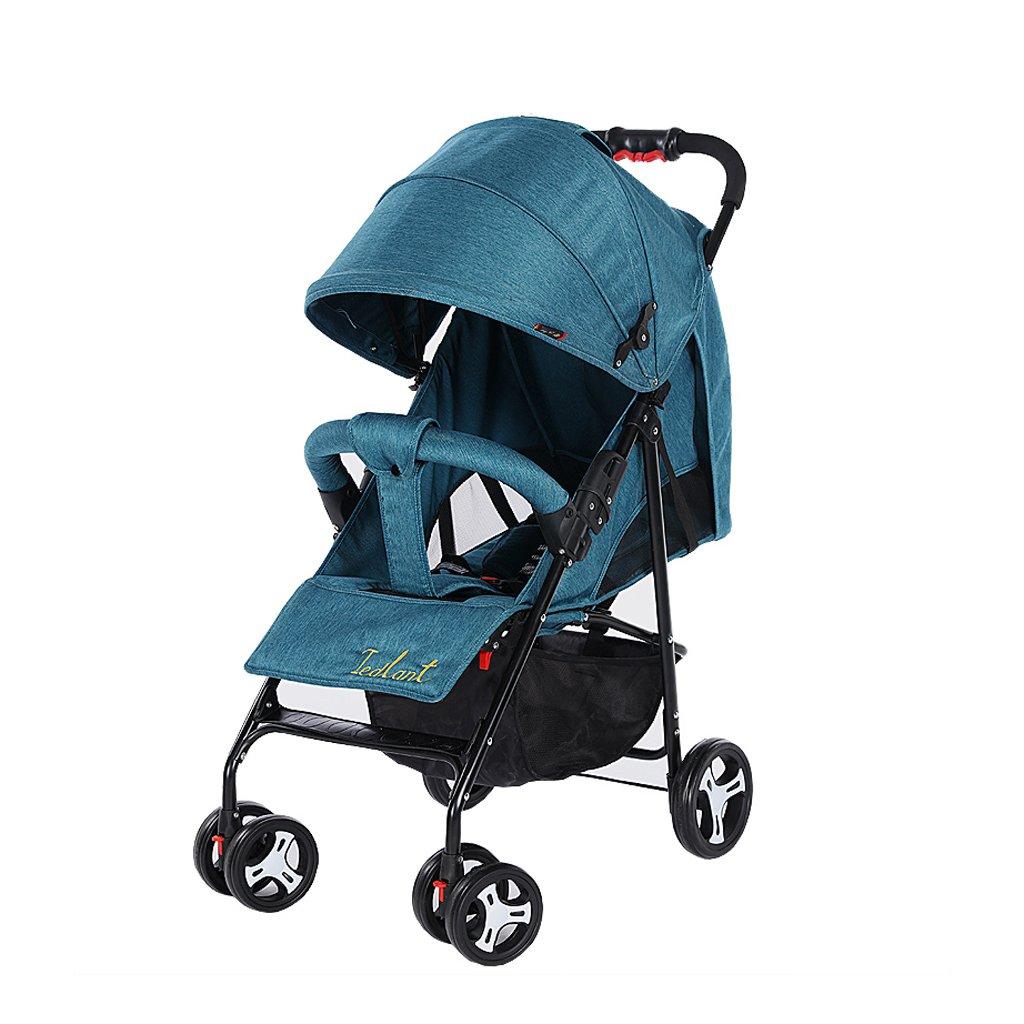 赤ちゃんのベビーカーは、超軽量のポータブル折りたたみ式ベビーベビーカー、青/緑/赤/グレー、64 * 102センチメートルに配置することができます ( Color : Blue ) B07BX6WDRK