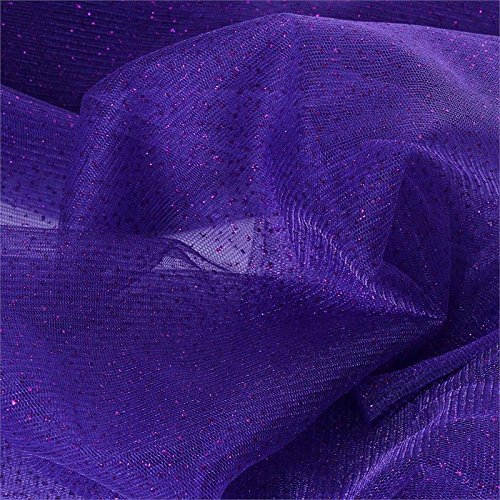 BalsaCircle 54-Inch x 15 Yards Purple Sparkle Glittered Net Tulle Fabric by The Bolt - Sewing Craft Wedding Favors Supplies