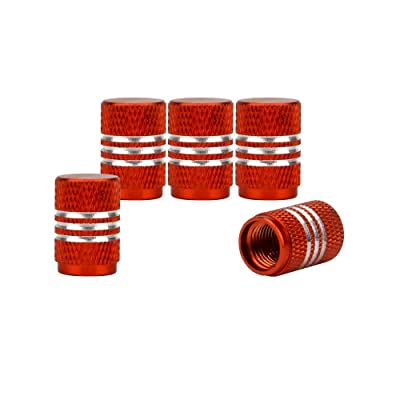 Haiy 5pcs Aluminum Car Tire Valve Caps Round Style Car Motorcycle Bicycle Air Valve Stem Covers Black (Orange): Automotive