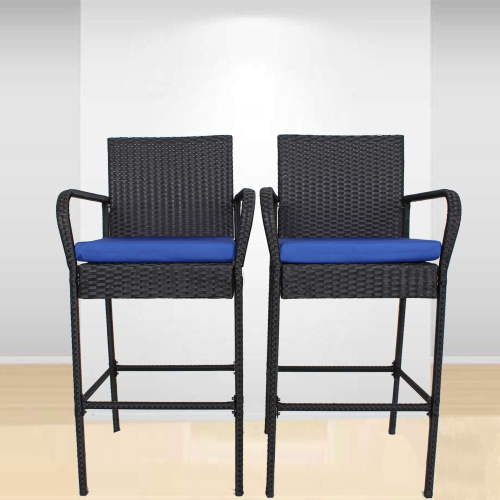 Garden Stool Set of 2 Patio Furniture PE Rattan Black Outdoor Home Bar Chairs Cushioned Barstool Set(Royal Blue Cushions,Set of 2