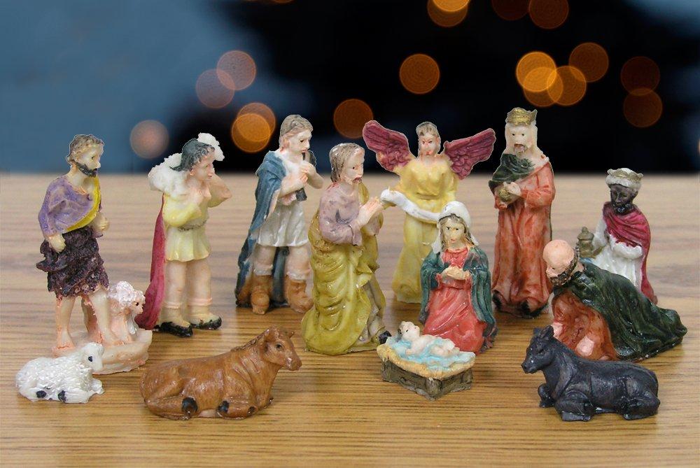 Nativity Set Figures -13 Pieces, includes Mary, Joseph, Baby Jesus in Manger, Angel, Wisemen, Shepherds, and Animals
