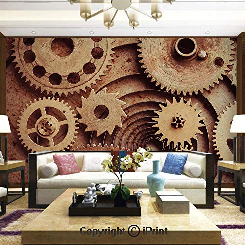 Wallpaper Nature Poster Art Photo Decor Wall Mural for Living Room,Inside The Clocks Theme Gears Mechanical Copper Device Steampunk Style Print,Home Decor - 100x144 inches