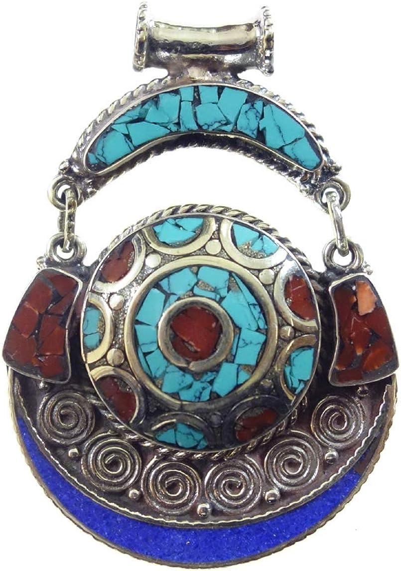 Diseñador Collar Con Colgante Para Hombres Y Mujeres Étnico Gitano Tribal Moda Chapado En Plata Tibetano Boho Estilo Turquesa Coral Lapis Lazuli Piedras Preciosas Colgante Hecho A Mano Por Artesanos