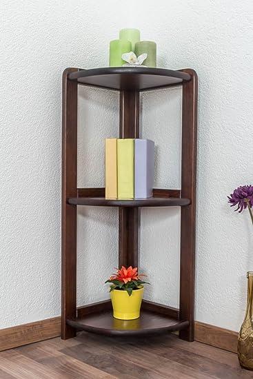 Estantería/estantería esquinera Pino maciza madera nogal Colores 005 – Tamaño 86 x 30 x 30 cm (H x B x T)