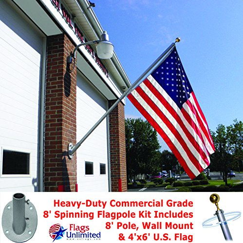 American Flag and Outrigger Flagpole Set - 8 ft. Aluminum Flagpole and US Flag 4x6 ft. SolarGuard Nylon by Annin Flagmakers, Outrigger Flagpole Kit. Model 3621