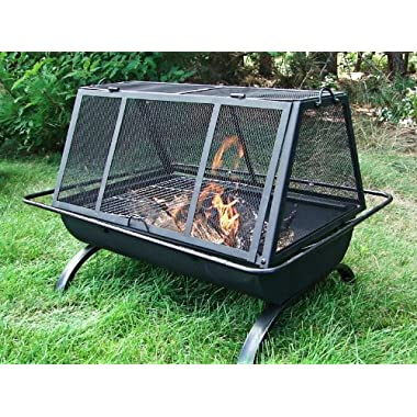Sunnydaze Northland Grill Fire Pit, 35 Inch Long