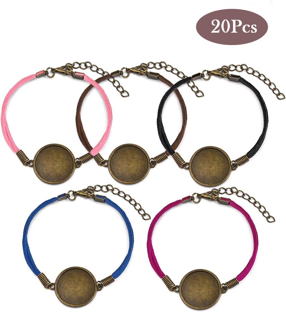 OBSEDE - 20 pulseras de cuero tejido, redondas, de cristal, con biseles en blanco, con base de gemas para hacer joyas 20mm-Bronze