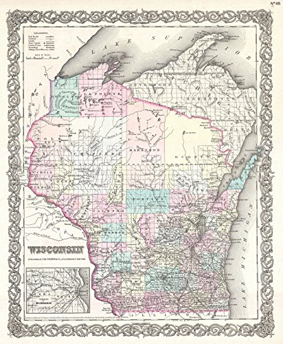 Wisconsin Antique Map (Historical 1855 Colton Map of Wisconsin | 24 x 30in Fine Art Print | Antique Vintage Map)
