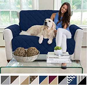 MIGHTY MONKEY Premium Reversible Chair and a Half Slipcover, Seat Width to 48 Inch Furniture Protector, 2 Inch Elastic Strap, Washable Armchair Slip Cover, Kids, Dogs, Chair and a Half, Navy Blue Tan