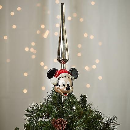 Amazon.com  Disney Santa Mickey Mouse Glass Tree Topper  Home   Kitchen 5df063728395