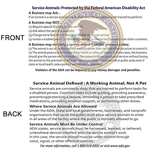 60 ADA LAW Service Dog Cards - Let People Know Your Rights!