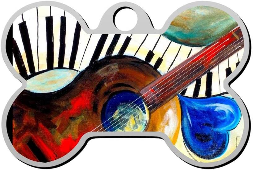 Etiqueta de Piano para Perro con diseño de Guitarra Musical, con ...