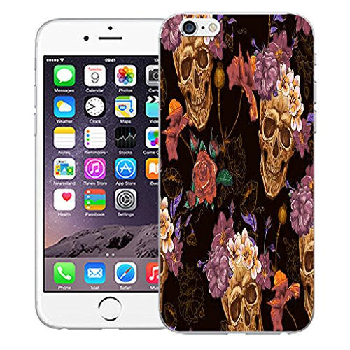 "Mobile Case Mate iPhone 6 4.7"" Silicone Coque couverture case cover Pare-chocs + STYLET - Skull Flower pattern (SILICON)"