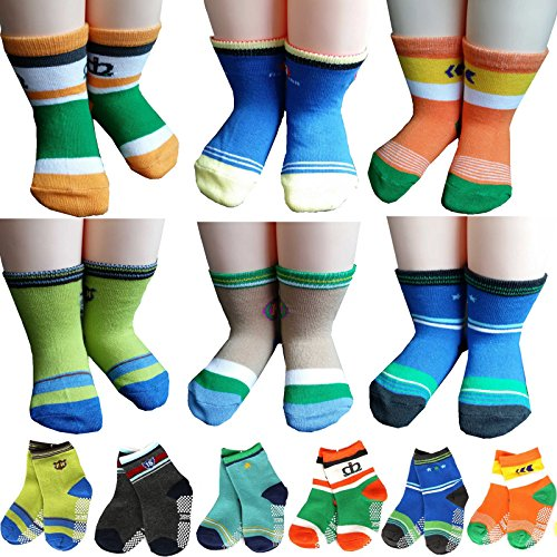 bsr-6-pairs-1-3-years-baby-boys-toddler-anti-skid-slip-slipper-stretch-knit-socks-gift-bag-gift-card