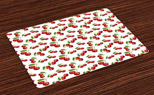 Ambesonne Kitchen Place Mats Set of 4, Cherry Pattern Design Fresh Berry Fruit Summer Garden Macro Digital Print, Washable Fabric Placemats for Dining Room Kitchen Table Decor, Red Green and White by Ambesonne