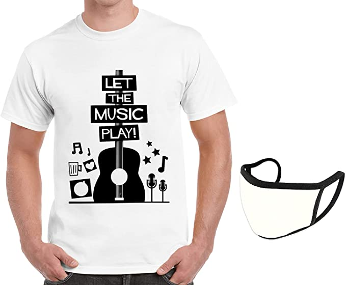 Caseria Men's Cotton Graphic Printed T-Shirt with mask - Let The Music Play
