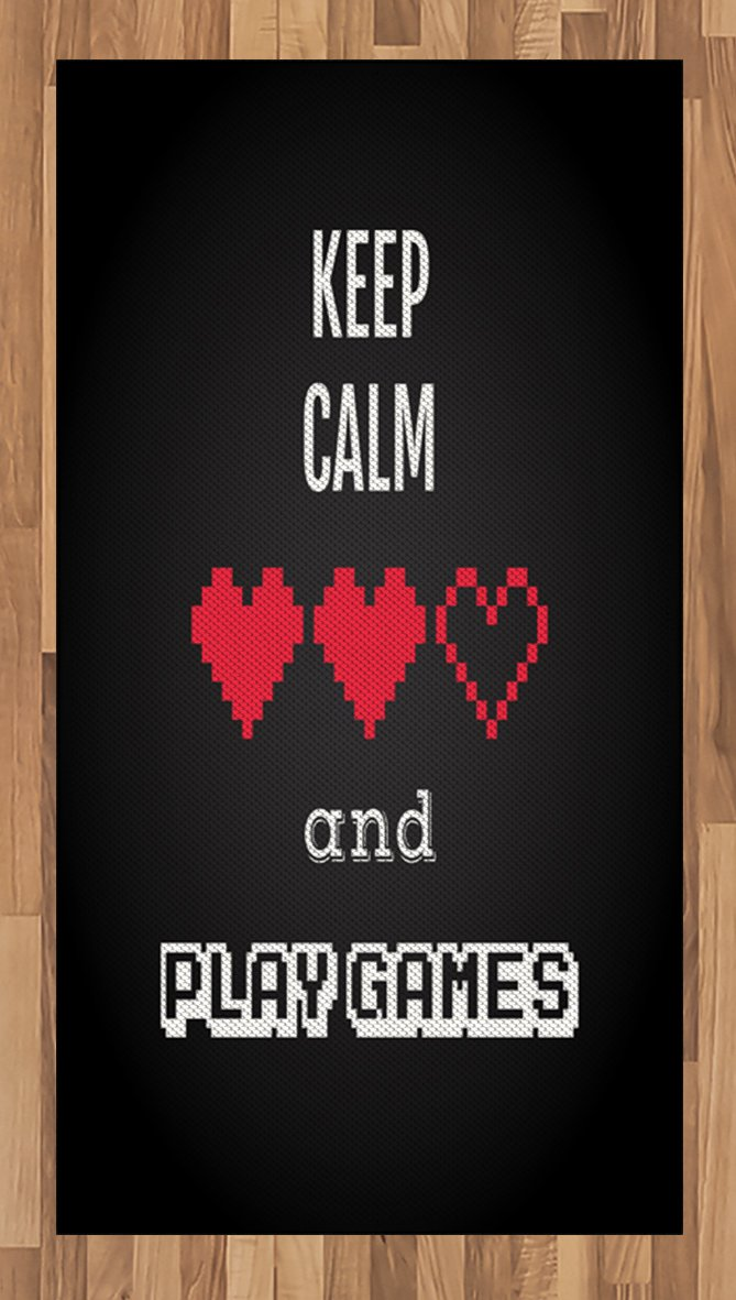 Lunarable Gamer Area Rug, Motivational Keep Calm Quote with Videogame Theme Ombre Background, Flat Woven Accent Rug for Living Room Bedroom Dining Room, 2.6 x 5 FT, Charcoal Grey Vermilion White