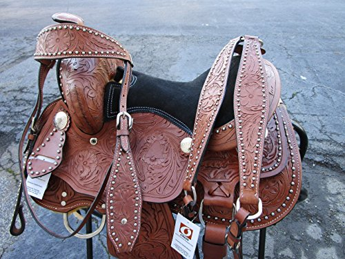 Show Youth Saddle (Orlov Hill Leather Co PREMIUM BROWN 12 13 WESTERN LEATHER YOUTH KIDS PONY SADDLE TRAIL SHOW TACK (12))