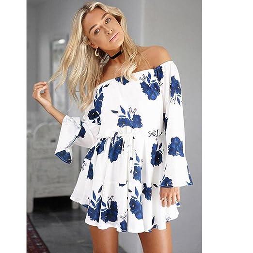 c3be2ba5e71d LONUPAZZ Blouse Femme Manche Courte Vintage Imprime Épaule Nue T-Shirt Robe  Rock Chemise Casual sunset