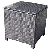 Outsunny Rattan Garden Furniture Side Table Patio Frame Tempered Glass New (Brown)