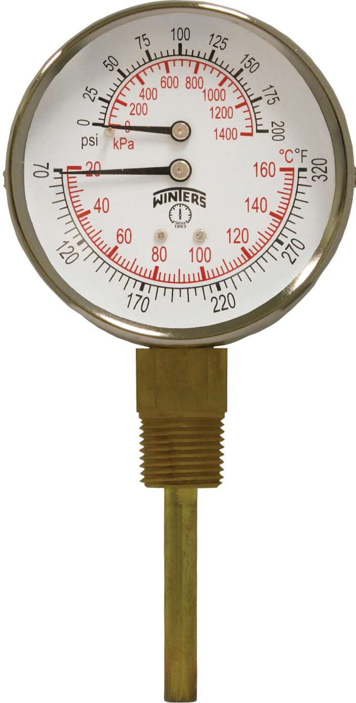 Winters TTD Series Steel Dual Scale Tridicator Thermometer with 2'' Stem, 0-200psi/kpa, 3'' Dial Display, ±3-2-3% Accuracy, 1/2'' NPT Bottom Mount, 70-320 Deg F/C