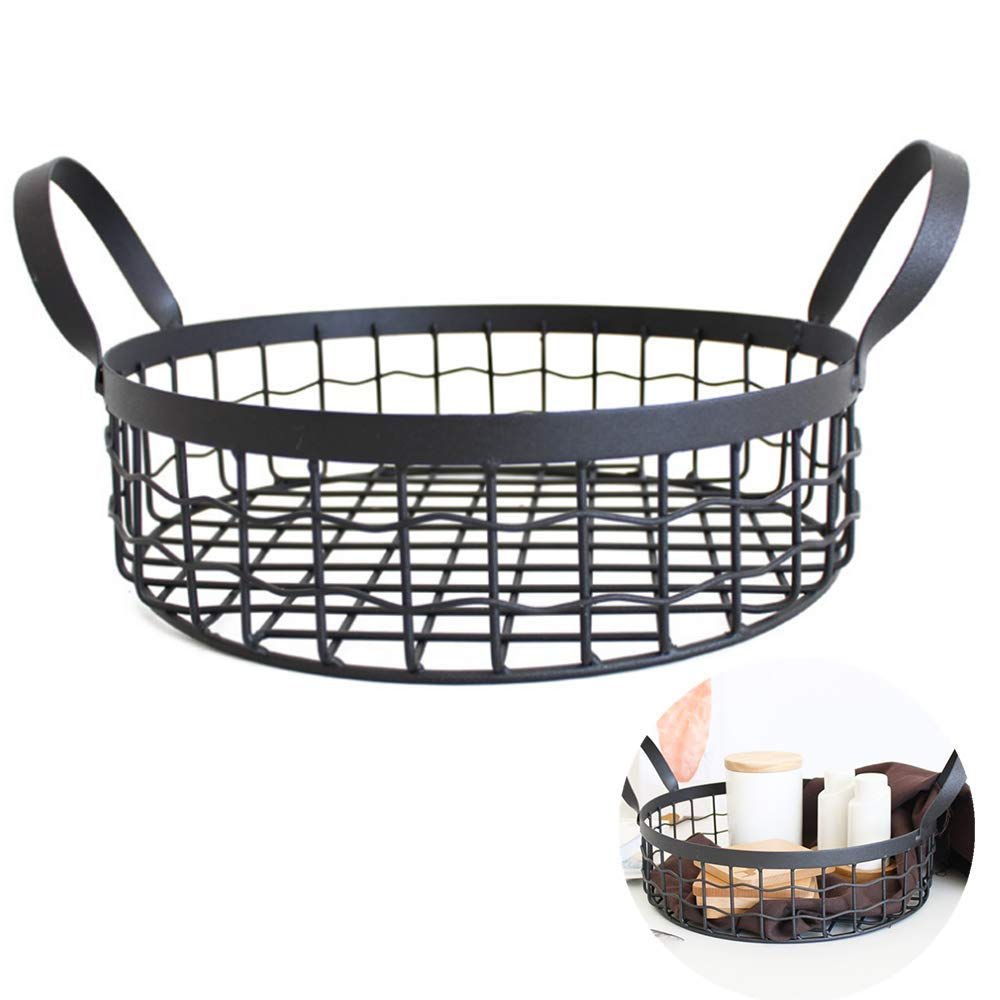 CROWN Nordic Simple Wrought Iron Storage Basket Office Supplies Desktop Snacks Debris Bread Basket, Suitable for Bathroom Black Woven Practical Gifts