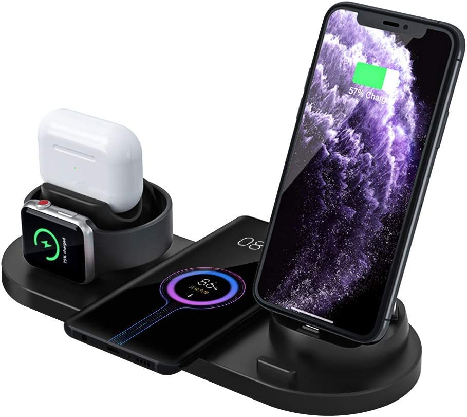 7in 1 Wireless Charger,Desk Charger Organizer Desktop Wireless Charging Station for Multiple Devices Compatible Dock for Airpods/Apple Watch 6/5/iPhone SE/11 Pro/XS/XR/Xs Plus/Samsung Adapter (Black)