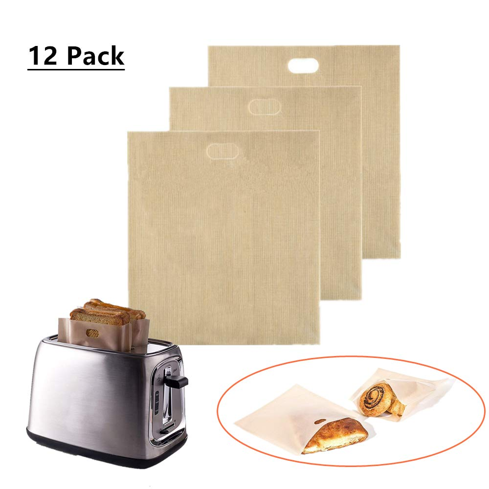 YIPINTANG Reusable Toaster Bags Non Stick and Heat Resistant, FDA Approved, Perfect for Sandwiches Pastries Pizza Chicken Panini and Garlic Toasts (12)