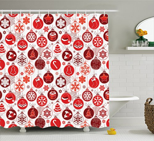 Christmas Shower Curtain Snowflake Decorations by Ambesonne, Classic Christmasy Themed Old Fashion Celebration Carols Winter Design Patterns, Polyester Fabric Bathroom Set with Hooks, Red White