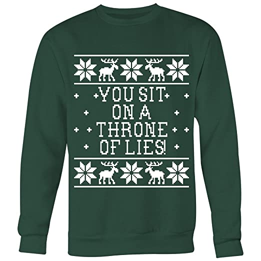 Amazoncom You Sit On A Throne Lies Unisex Ugly Christmas