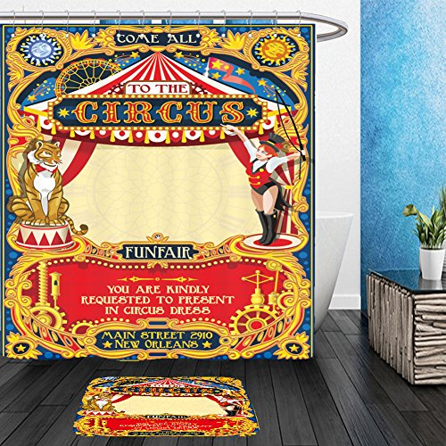 Vanfan Bathroom 2?Suits 1 Shower Curtains & ?1 Floor Mats circus animal trainer tamer artist show template poster invite kid game birthday party amusement 519457420 From Bath (Circus Animal Trainer Costumes)