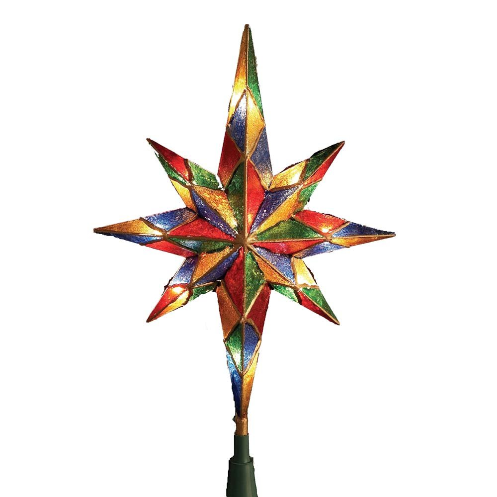 Kurt Adler 10-Light Mosaic Bethlehem Star Treetop