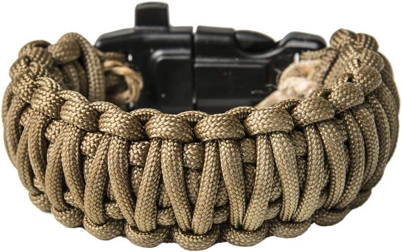 Grand Way Paracord Bracelet kit - Outdoor Survival Bracelet with Compass, Whistle, fire Starter and Scraper - Coyote Brown Tactical Paracord Bracelet – Double Cobra Paracord Bracelet