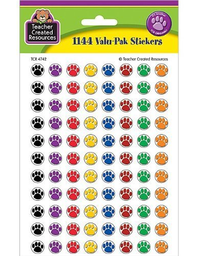 (Teacher Created Resources Colorful Paw Prints Mini Stickers Value Pack (4742) by Teacher Created Resources)