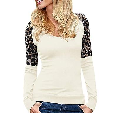 48c2e3c4dab Moonuy Mode Femmes Mode O-Cou Manches Longues Léopard Patchwork Top T-Shirt  décontracté
