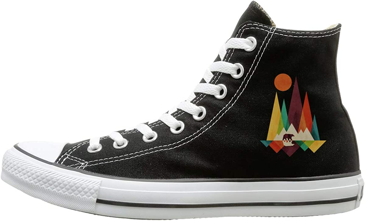 FOOOKL Mountain Bear Colorful Canvas Shoes High Top Casual Black Sneakers Unisex Style