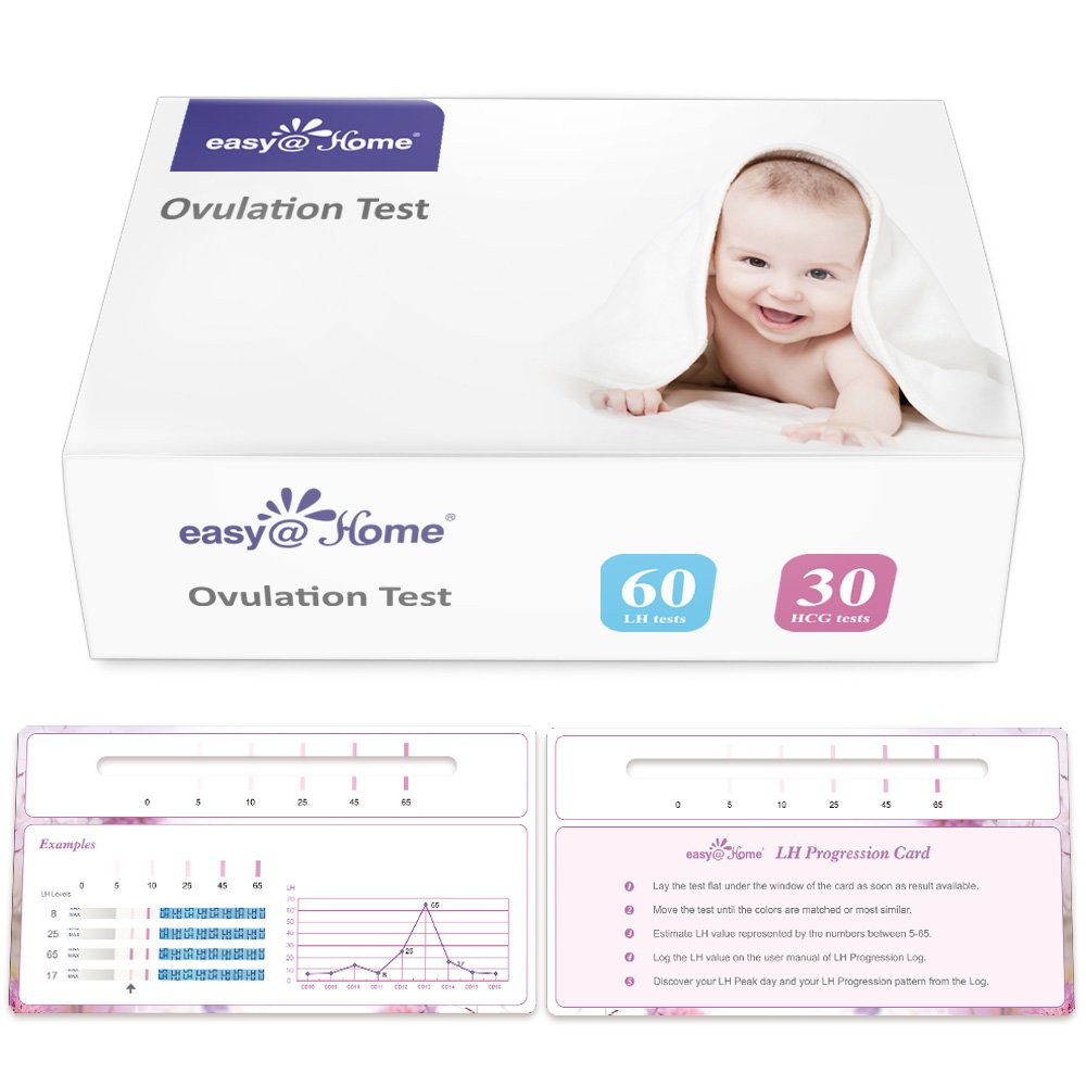 Easy@Home Newly Launched Ovulation Predictor Kit Including 60 LH Test Strips and 30 HCG Test Strips Plus Progression Card and Log, Ovulatory Monitor Test for Ovulation Progression Tracking,60LH+30HCG