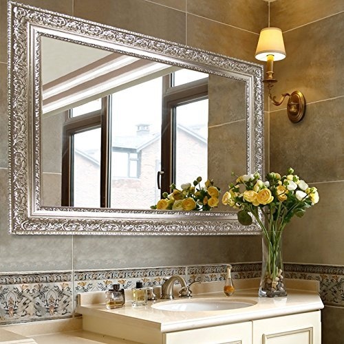 Hans&Alice Large Silver Vanity Wall-Mounted Mirror, 37.5''X25.5''. Luxury for Bathroom, Living Room, Bed Room. Hooks and Rope Included