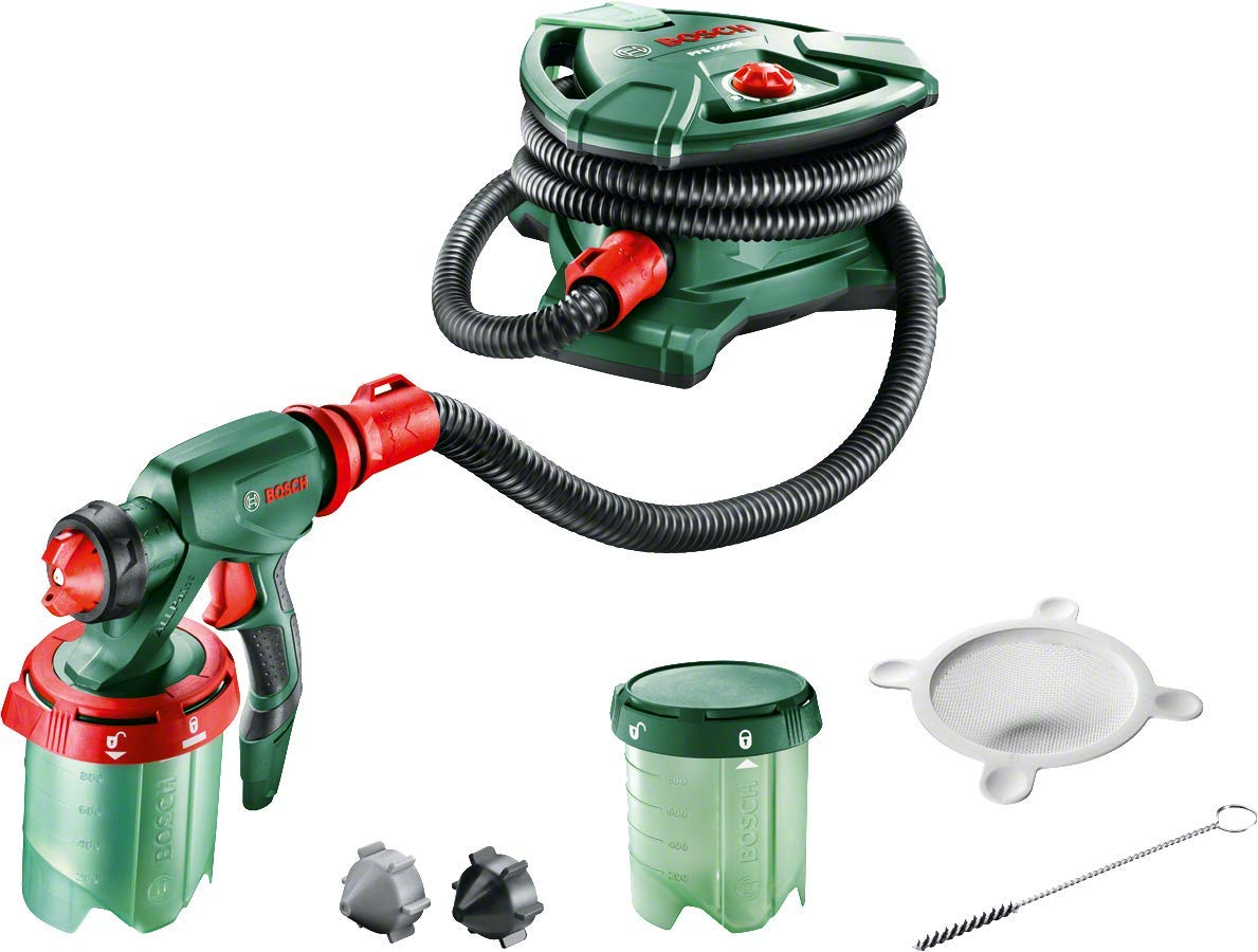 Bosch 1000 ml Paint Spray System PFS 5000 E (2x Paint Tanks 1000ml, Nozzle for Wall Paint/Glazes / Varnish, Colour Filter, Cleaning Brush, Box, 1200 Watts) 0603207200