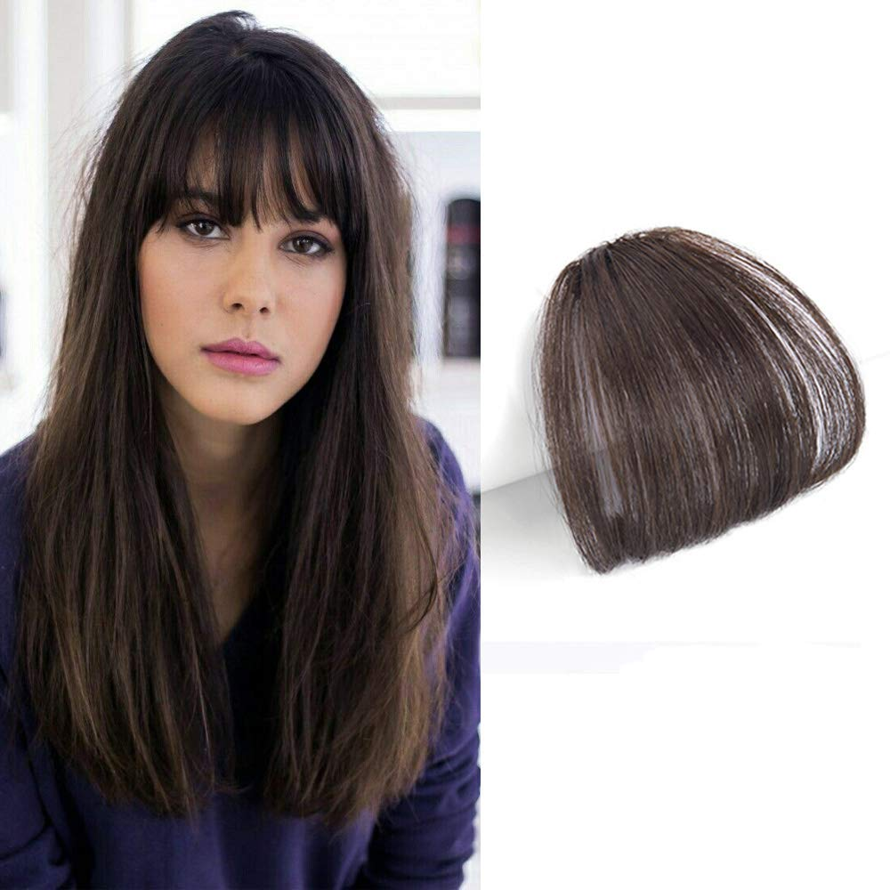 Reysaina Air Hair bangs Clip on Real Hair 100% Human Hair #4 Dark Brown Air Front Fringe Clip in Hair Extensions One Piece Striaght Fringe Hairpiece Accessories Leimi