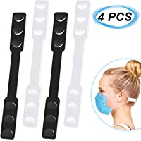 Dreamslink 4PCS Mask Extension Buckle Hooks, Ear Protector Artifact, Adjustable Lengthened Mask Rope, Anti-leak Ears to Relieve Ear Pain, Black & White