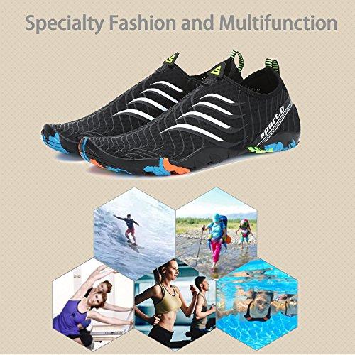 Femme Yoga de Homme pour Aquatiques Noir Chaussures Surfer Piscine Water Shoes Plage d'eau Blanc Chaussures katliu POnRaxg