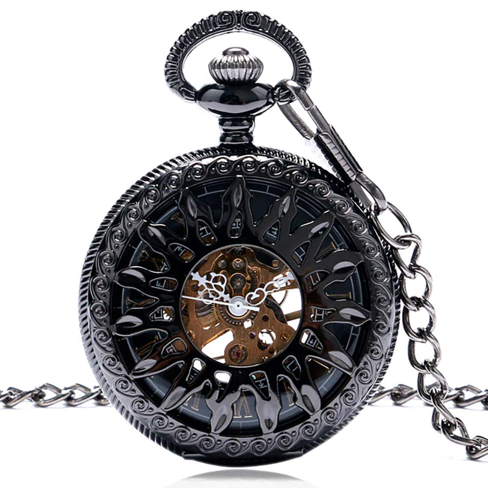 Men's Pocket Watch, Antique Style Skeleton Sun Flame Black Mechanical Pocket Watch, Gift for Men by mygardens