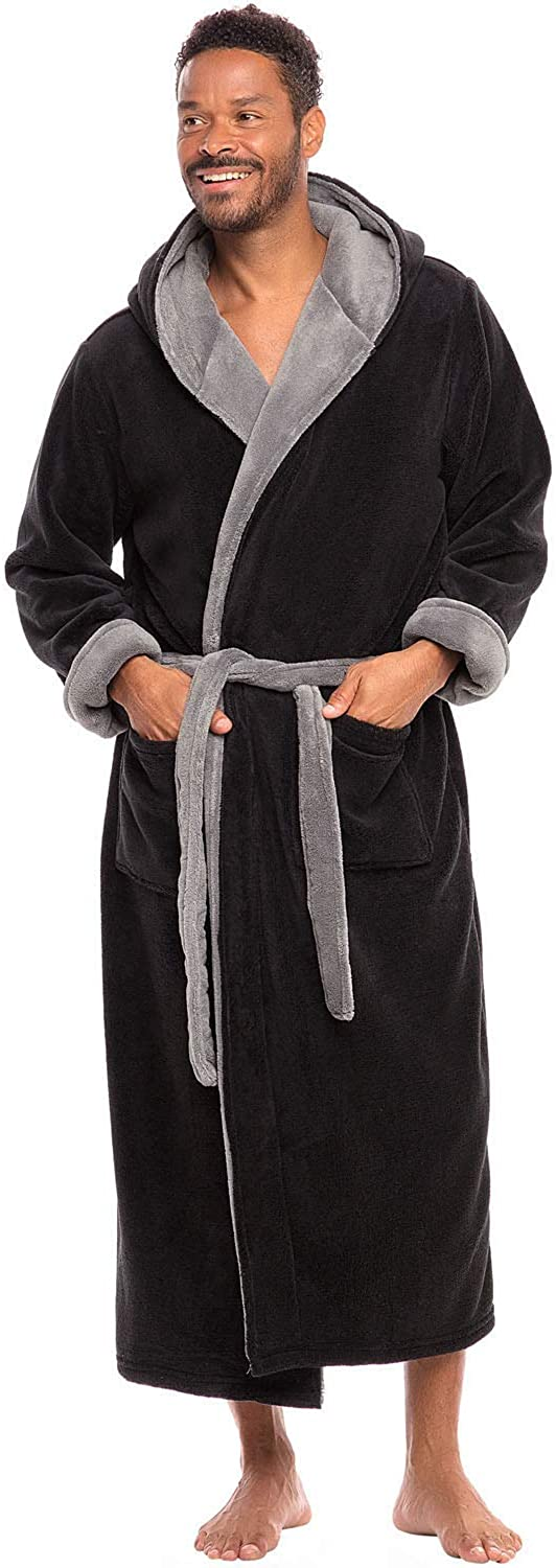 Alexander Del Rossa Men's Warm Fleece Robe with Hood, Big and Tall Contrast Bathrobe