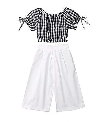 57e81788db59c Toddler Kids Baby Girls Plaid Off Shoulder Crop Tops + Wide Leg Pants 2Pcs  Summer Outfit