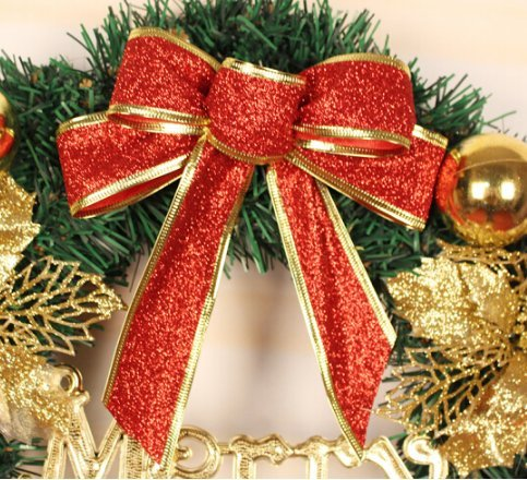 50/60/80cm Christmas wreath decorations Christmas decorations Christmas rattan ring Christmas Inn shopping Mall window (50cm, With lights)