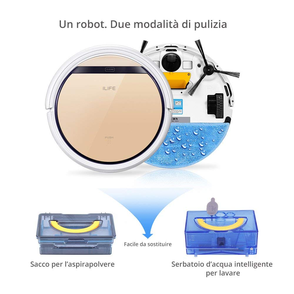 ILIFE V5s Pro Robot Aspiradora con tanque de agua, Robot de limpieza para suelos barrer y fregar automáticamente (Reacondicionado Certificado): Amazon.es: ...